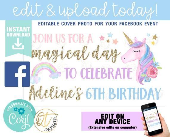 Unicorn Birthday Facebook Cover Facebook Event Cover Unicorn