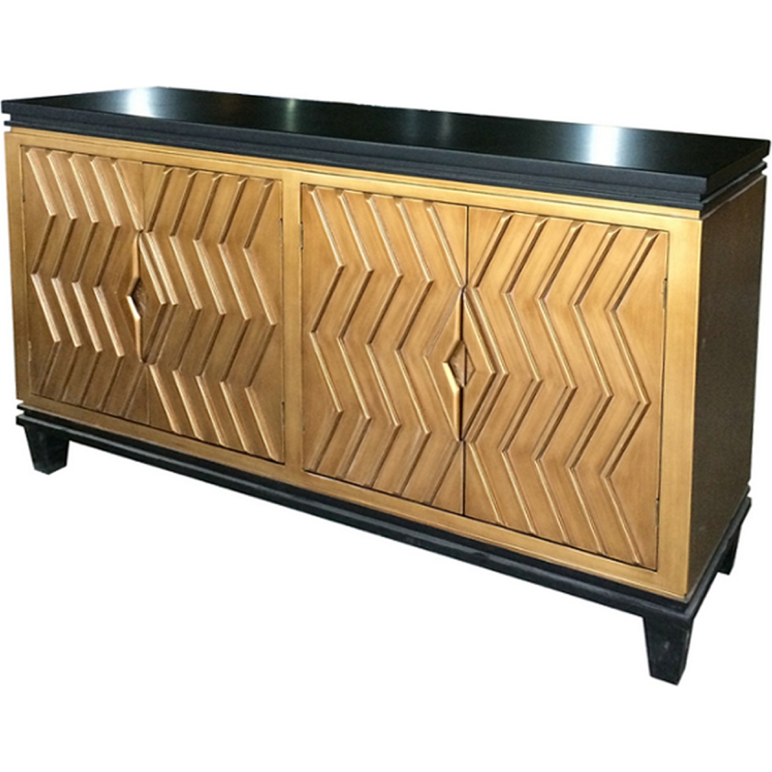 New pacific direct alessio artdeco sideboard in black w gold doors