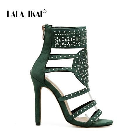 b1bbb69091b7 LALA IKAI Flock Crystal High Heels Sandals 11.5CM Women Zipper Glitter  Cross Sandals Bling Chic