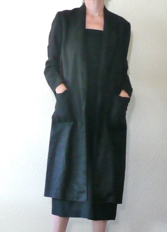 Vintage 90's Long Black LINEN Jacket by Saks Fifth Avenue DEEEPWATERVINTAGE, $48.00