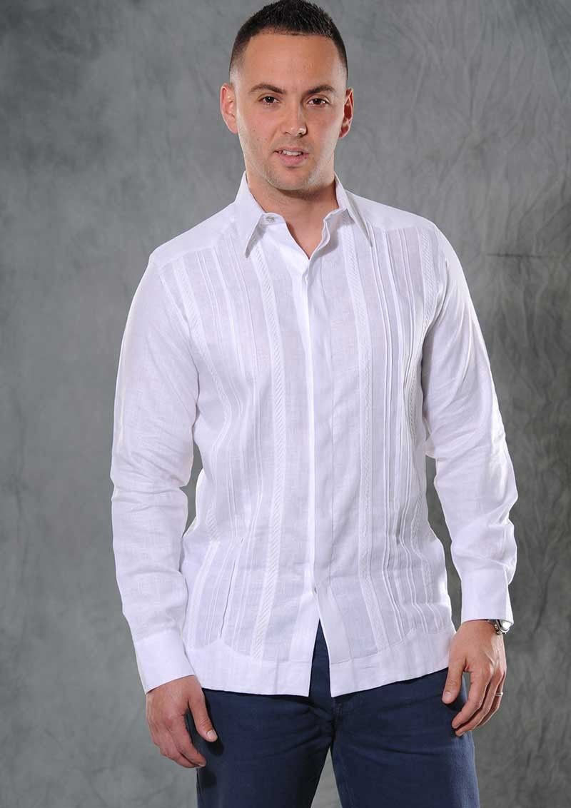 Formal Wedding Guayabera Italian 100 Linen Exquisite Design Best Seller Guayabera Double Eyelet For Use Cufflinks White Color Back Orders Or Demand White Linen Shirt Men Linen Shirt Men Outfit Linen [ 1132 x 800 Pixel ]