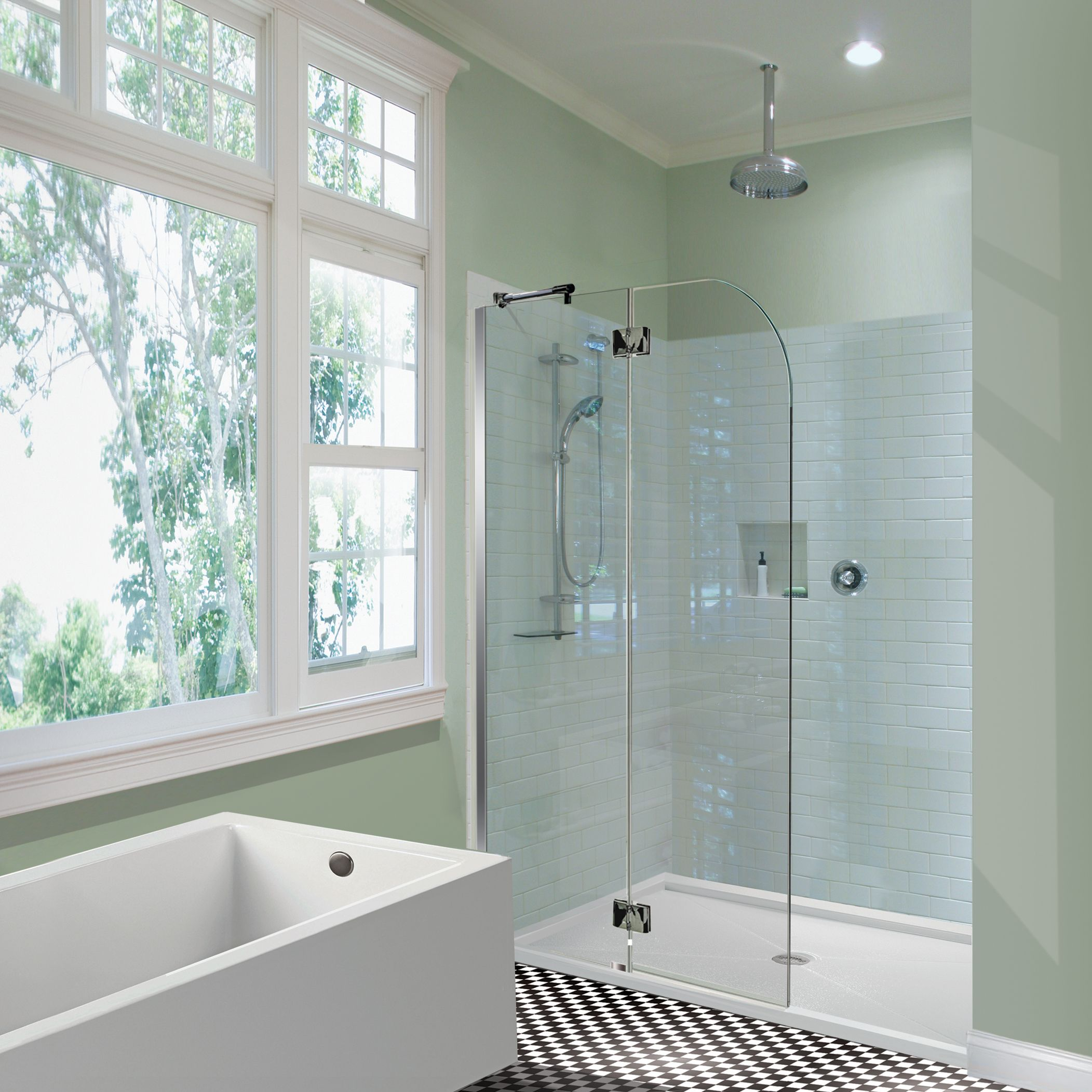 Love the MTI tub and glass shower shield. | Bath Tiles & Materials ...