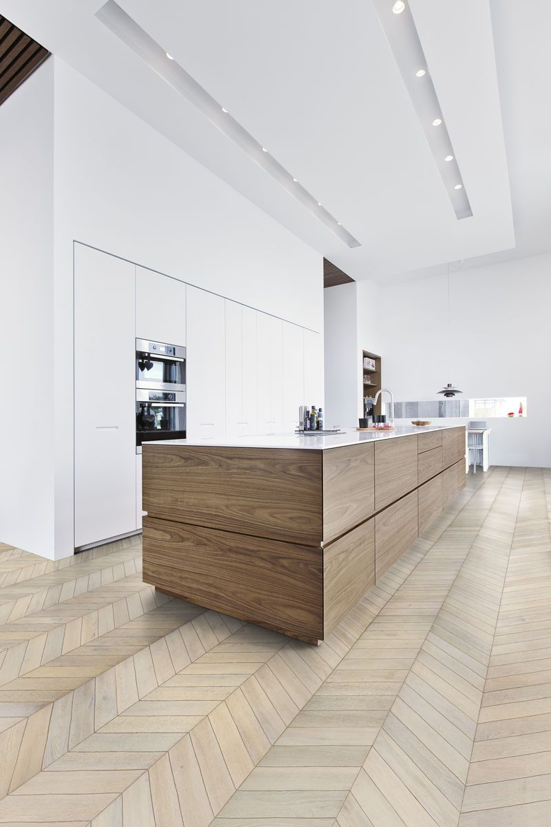 Kahrs Chevron White is a chevron-style parquet floor created with ...