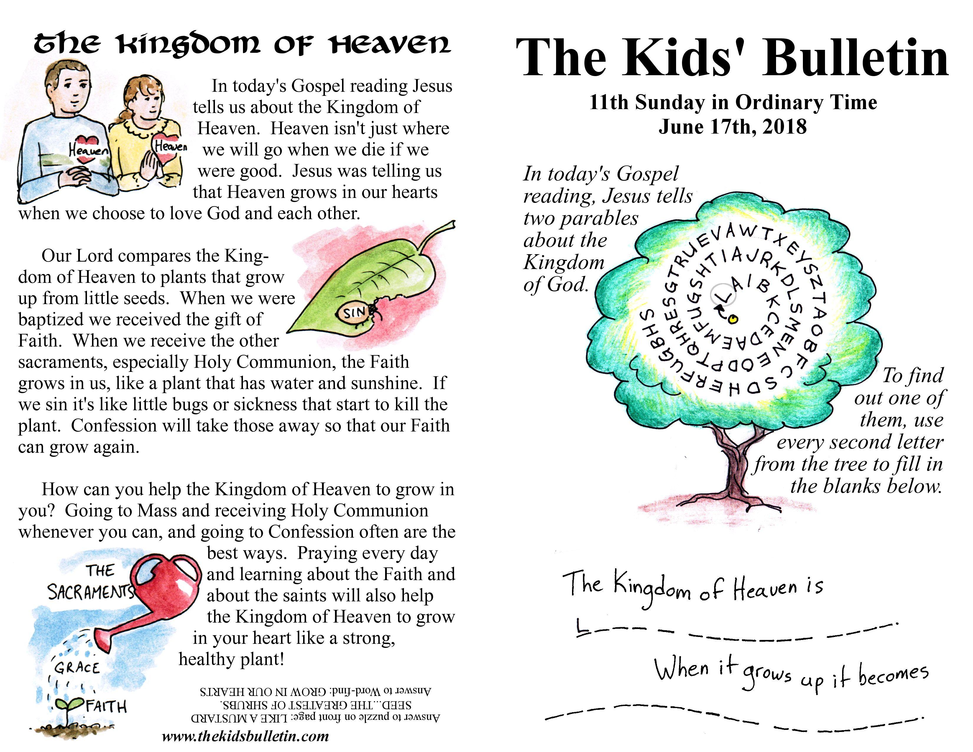 The Kids Bulletin For Sunday June 17th