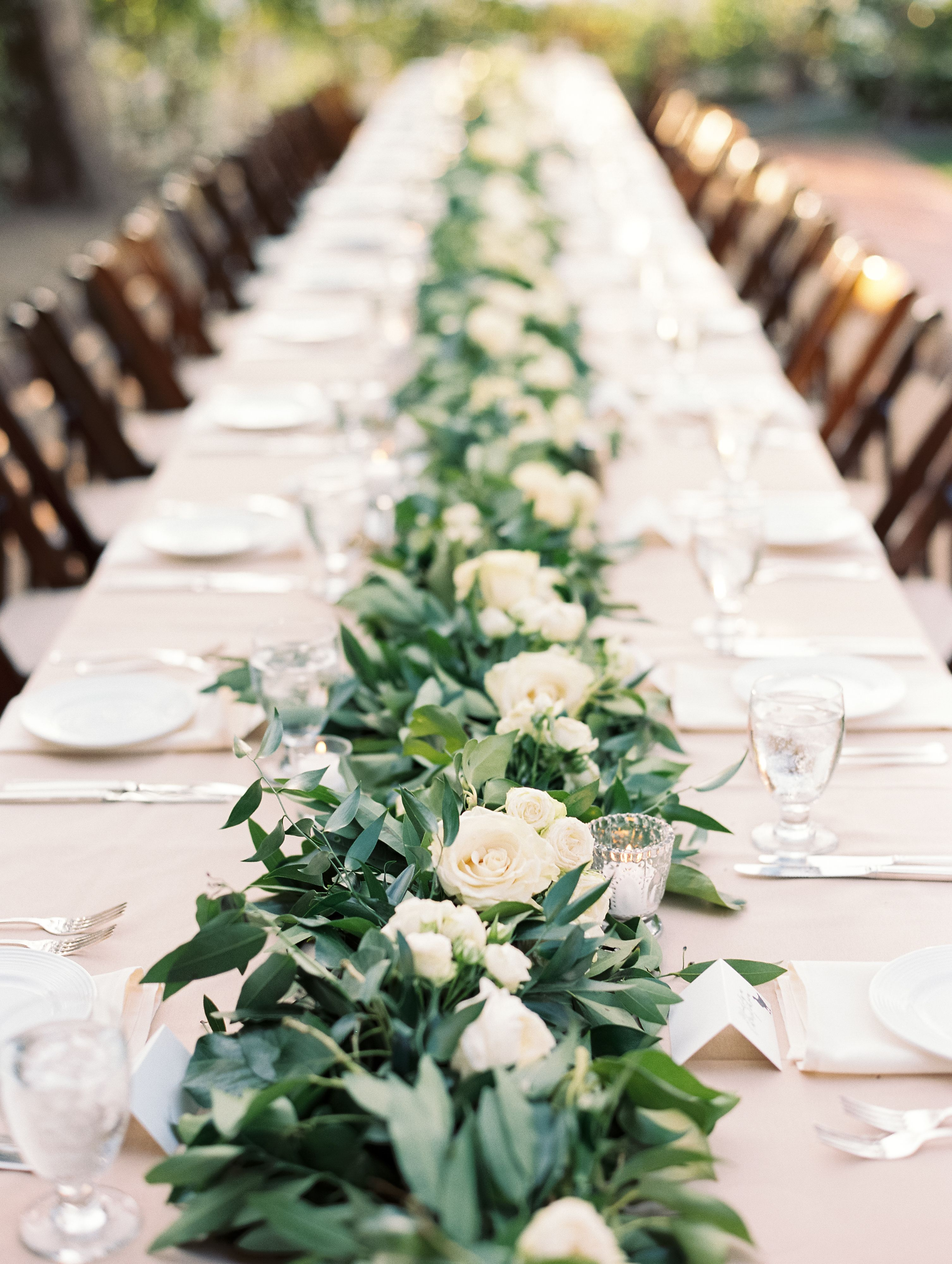 Garland And White Rose Table Runner Centerpiece Taralynn Lawton Photography Wedding Table Flowers Vintage Wedding Table White Roses Wedding