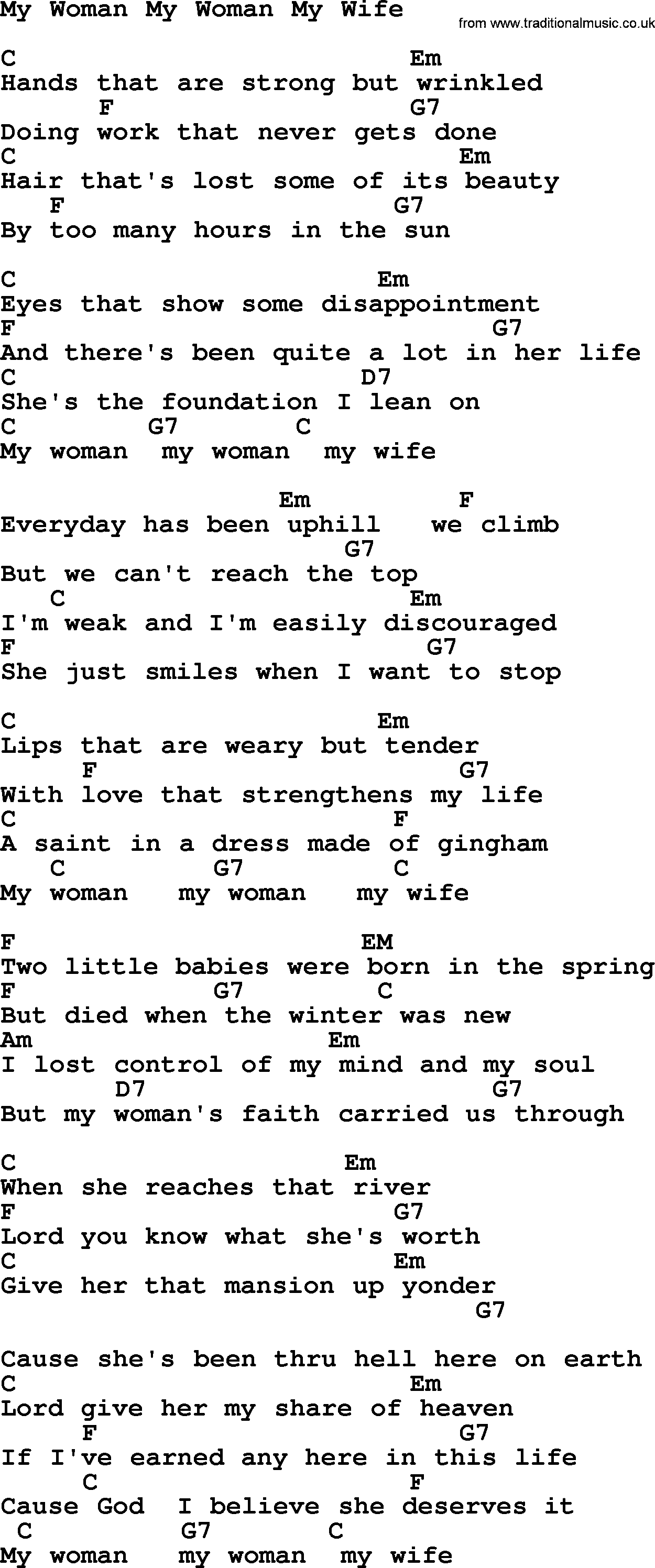 Marty Robbins Song My Woman My Woman My Wife Lyrics And Chords
