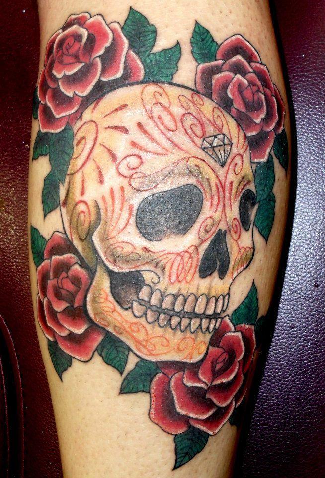 1999ebbb0aae7 sugar skull and rose tattoo | Sugar Skull and roses tattoo by ~onksy on  deviantART