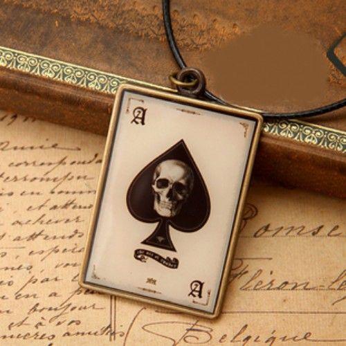 Black White Skull Punk Emo Fashion Jewelry Long Necklaces Men Women SKU-10802082