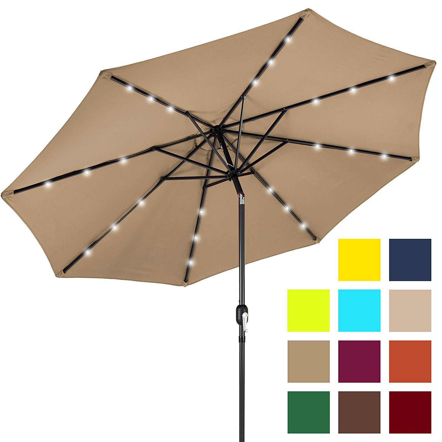 7 Best Choice Products Deluxe Patio Umbrella With Solar Led Lights