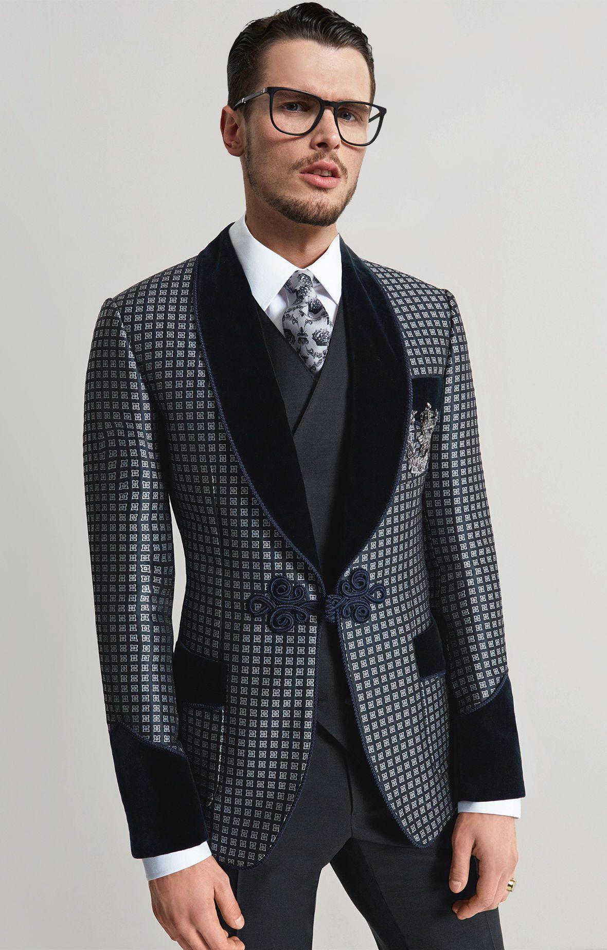 Men's Blue Print Dinner/Tuxedo Jacket Dolce&Gabbana
