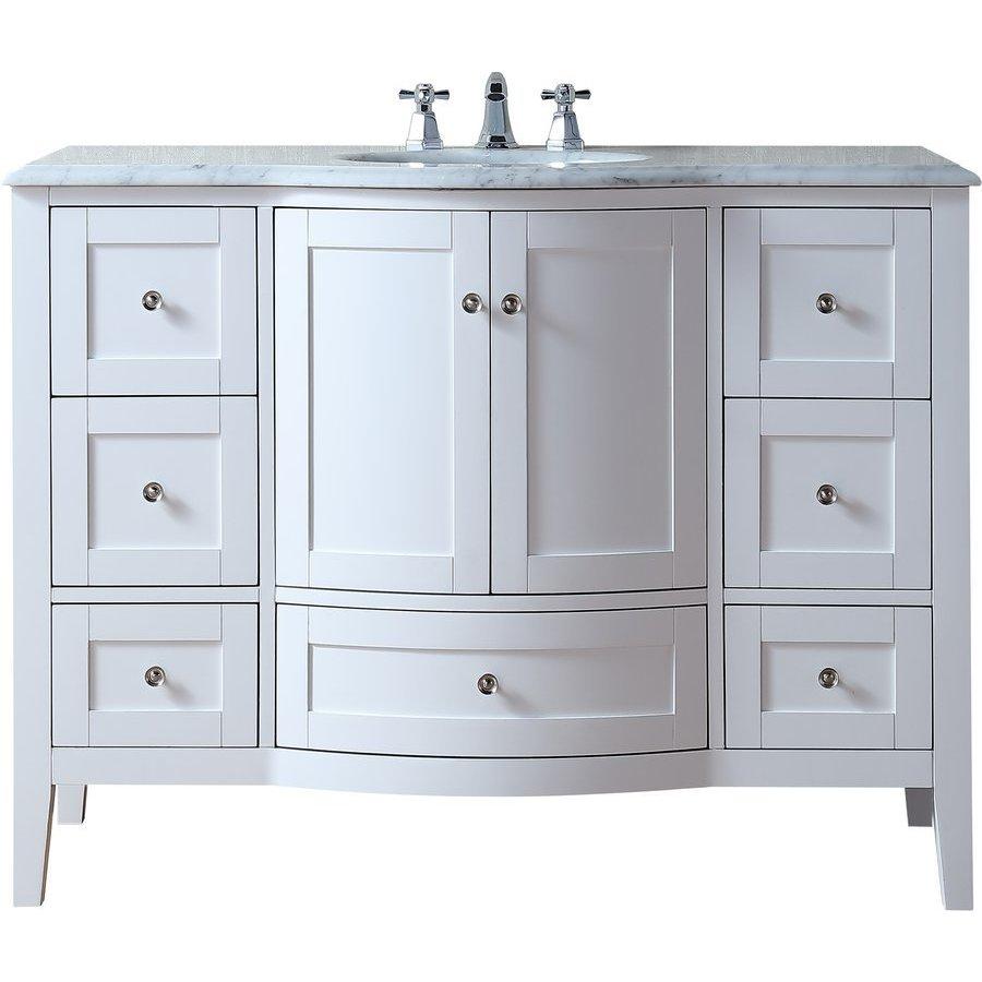 Stufurhome Marilyn 48 Inch Single Sink Bathroom Vanity White Gm