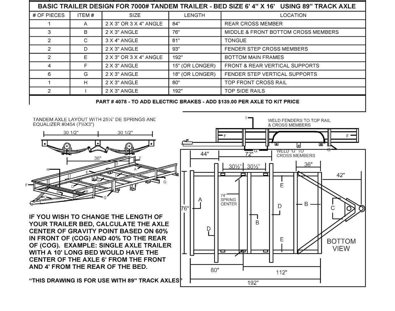 "95"" Tandem Trailer Parts Kit 7,000lbs GVWR Trailer axles"