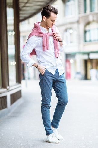 Men S Pink Crew Neck Sweater White Dress Shirt Blue Check Dress