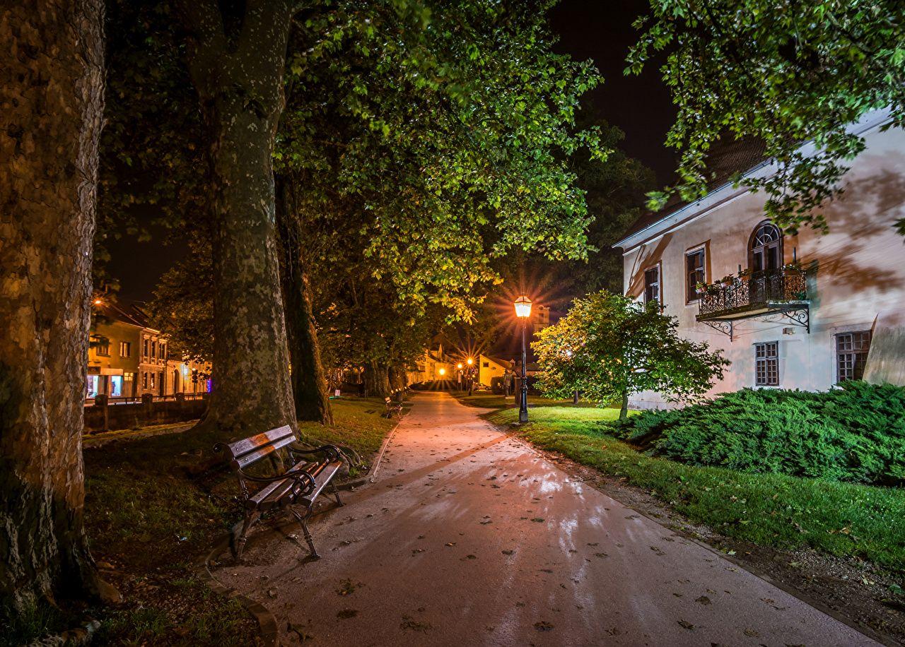Photo City Of Zagreb Croatia Samobor Street Trunk Tree Bench Night Time Street Lights Cities Building Night Houses In 2020 City Of Zagreb Zagreb Croatia Zagreb
