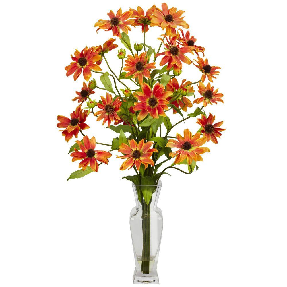 Cosmos Wvase Silk Flower Arrangement Nearlynatural Floral Dcor