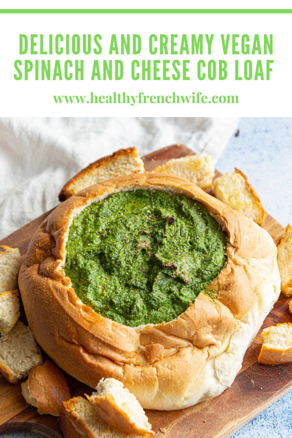 Delicious and Creamy Vegan Spinach and Cheese Cob Loaf