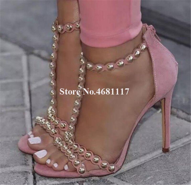 Style Toe Stiletto Rivet T Heel Open Women Fashion Strappy Metal c4j5ARLq3