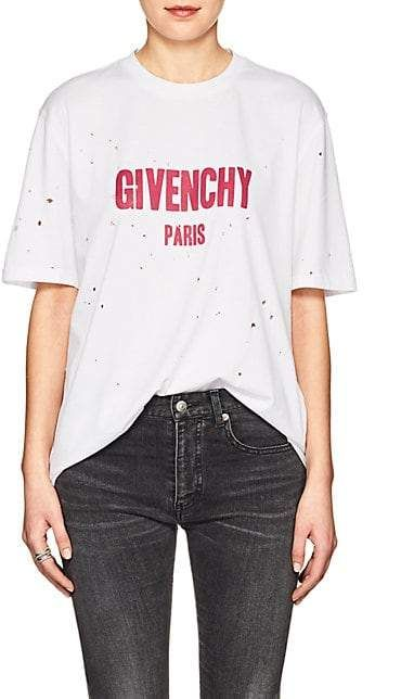 3438843d4 Givenchy Logo Distressed Cotton T-Shirt in 2019   Products   Balmain ...