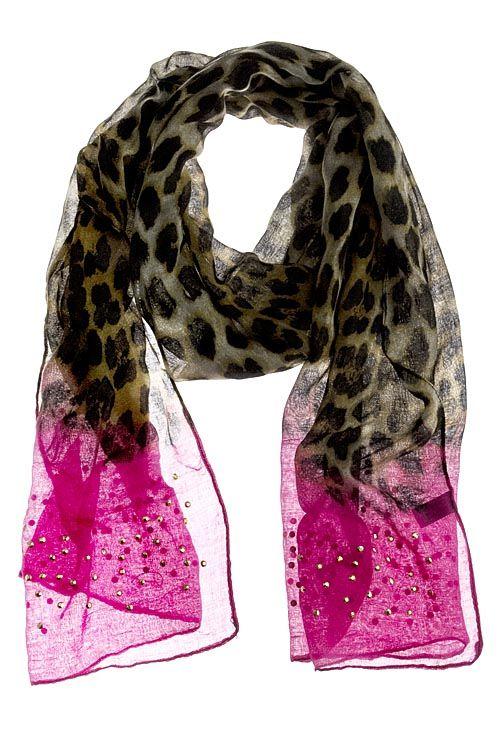 Leopard & pink scarf