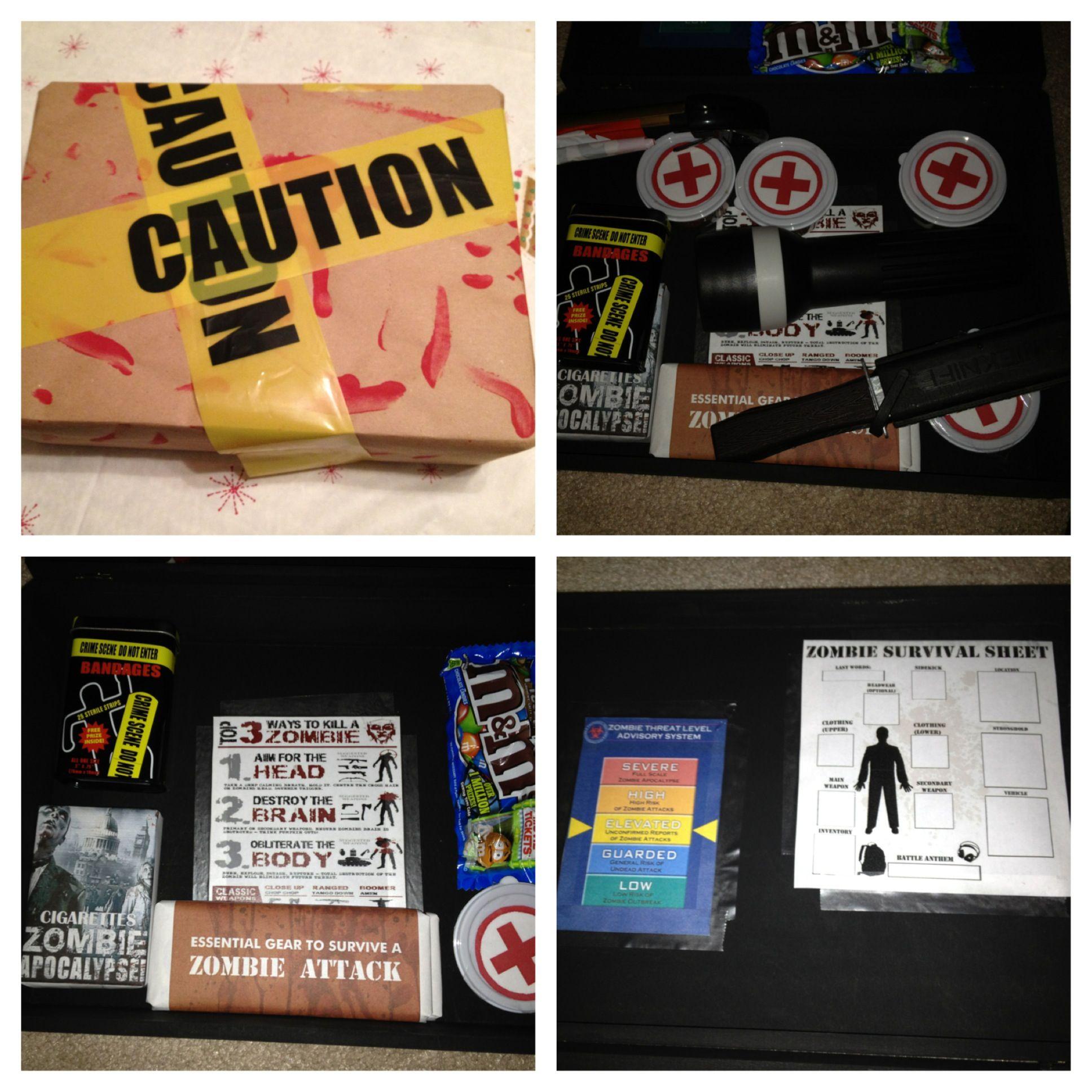 Zombie Apocalypse Box I Made For A Christmas Gift Zombie Gifts Christmas Gifts Gifts