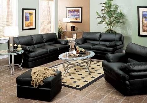 Aprende Cómo Decorar Utilizando Muebles de Cuero Negro | Sofa set ...