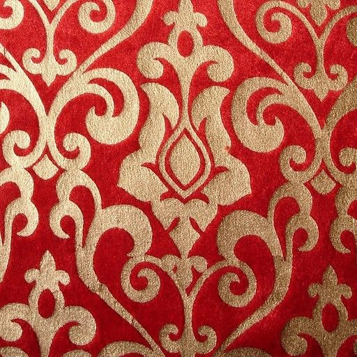 Red Damask Printed Velvet Fabric By The Yard Velvet Fabric
