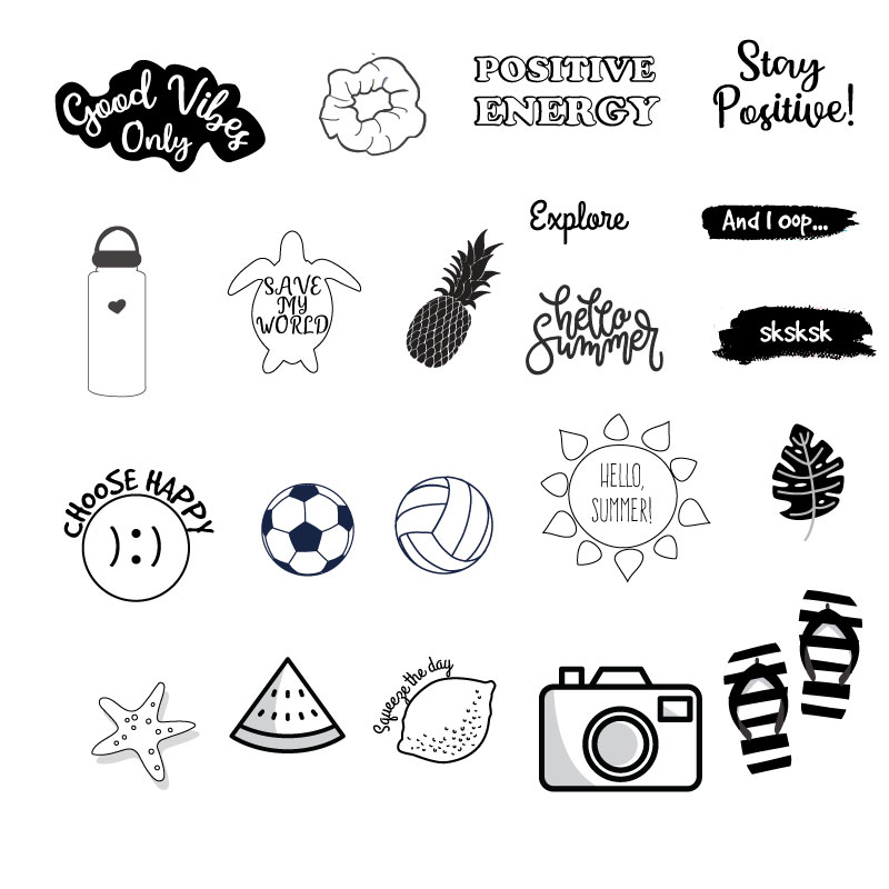 Black And White Vsco Stickers Printable Howcrafts Co In 2020 Black And White Stickers Coloring Stickers Black Stickers