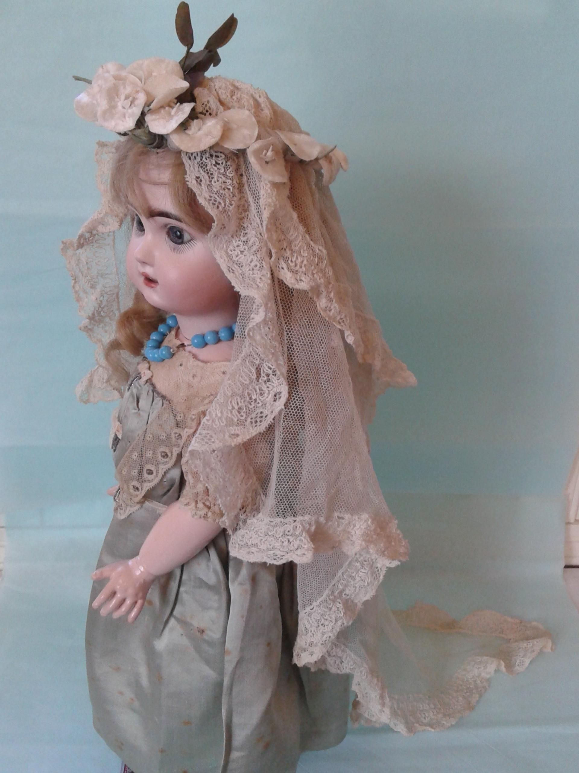 Antique French Doll Size Wedding Veil and Coronet for French Fashion from au-nain-bleu on Ruby Lane