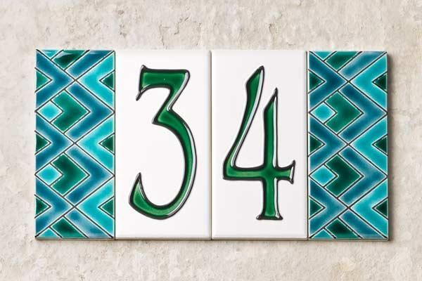 Decorative Tile House Numbers House Number Tiles Decorative  Tiles Decorated With Overlapping