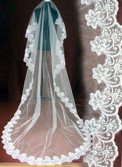 a8a2fd8e36 On sale nearly 3 meters train a long veil wedding dress lace decoration  yarn white soft screen formal dress Bridal veils