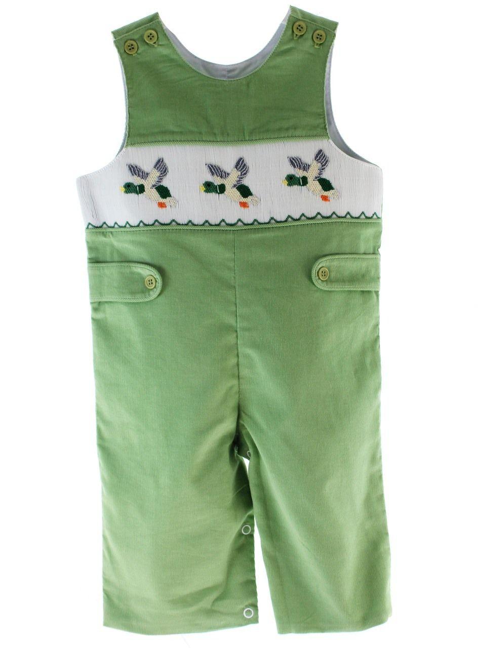 99e23b0abaa2 Boys Green Smocked Duck Romper Corduroy