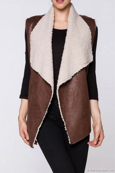 Faux Leather Draped Sleeveless Vest with Fur Shearling Lining-Brown