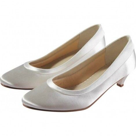 00d4e4fe0b98 Bea by Rainbow Club Ivory or White Dyeable Satin Low Heel Wedding or  Occasion Shoes