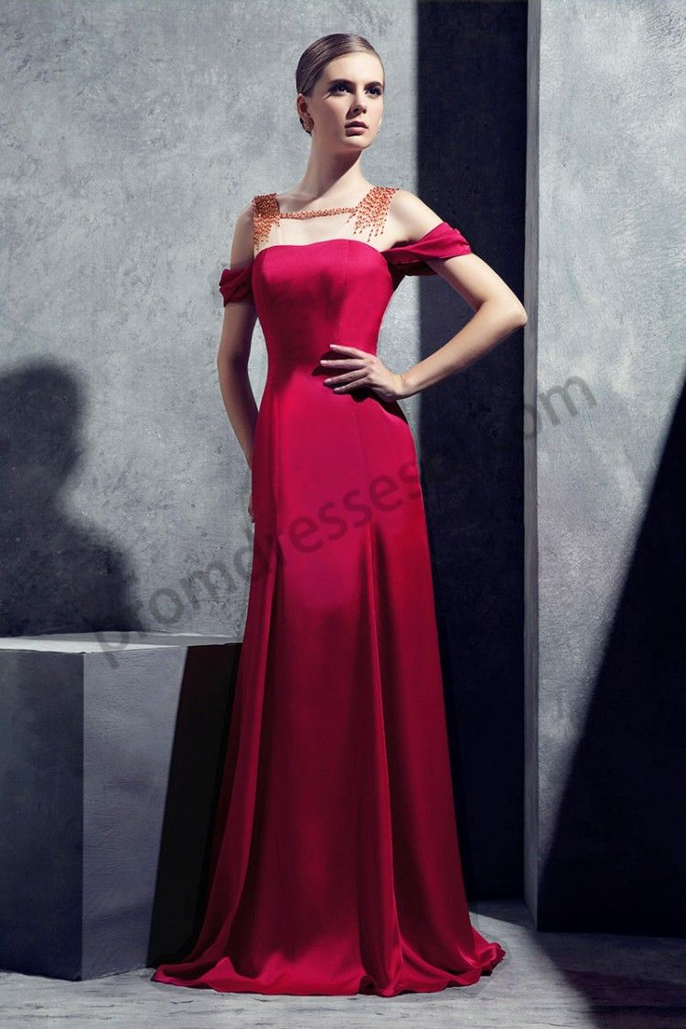 Rose boat neck art silk royal floor length evening dress ry
