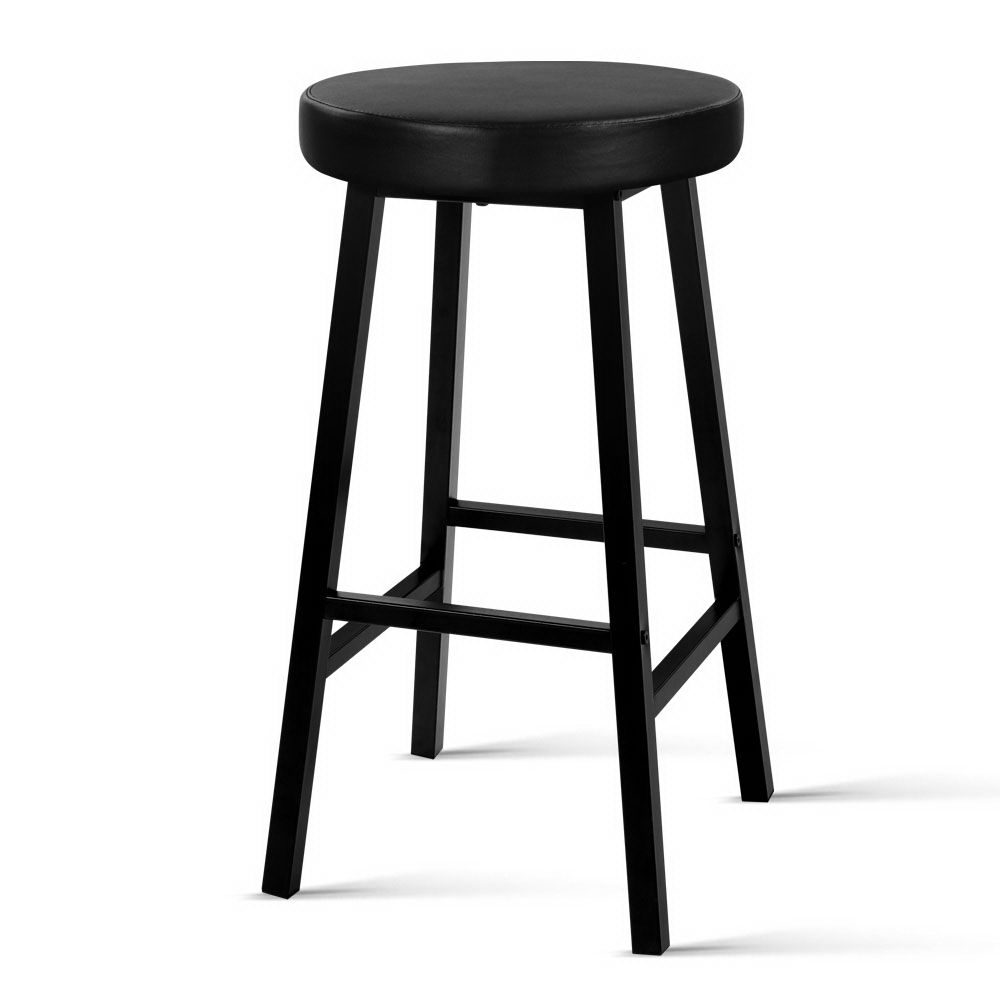 Artiss 2 X Vintage Kitchen Bar Stools Industrial Leather Bar Stool Black Retro Bar Stools Brown Bar Stools Kitchen Bar Stools