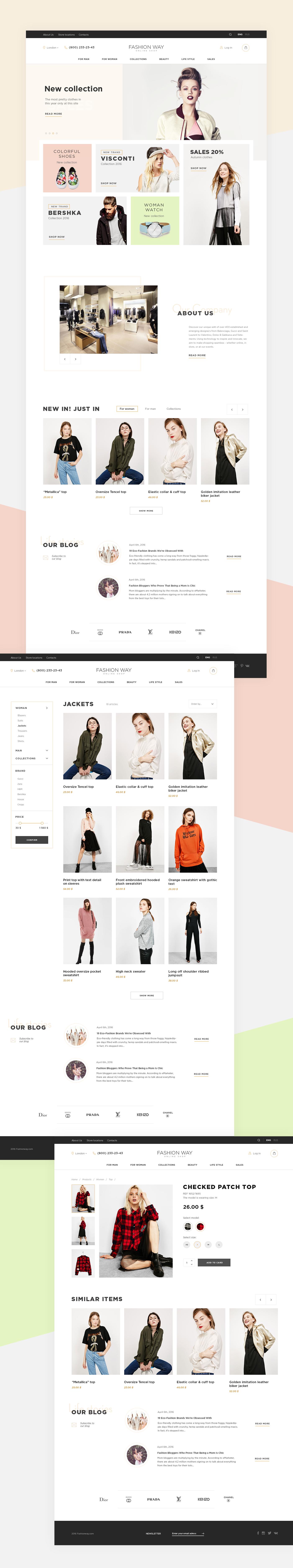 Fashion Way Web Design For Online Shop On Behance Fashion Editorial Layout Fashion Magazine Layout Magazine Web Design