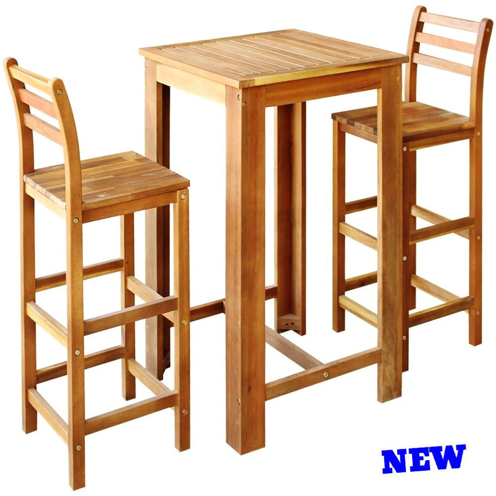 Bar Table Set 3pc Stool High Chair Wood Height Kitchen ...