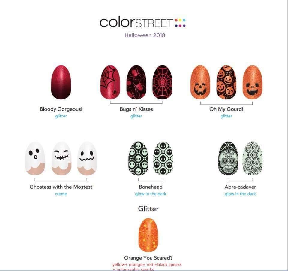 Color Street Halloween Nails 2018 The Striped Peony Halloween Nail Colors Halloween Nails Color Street