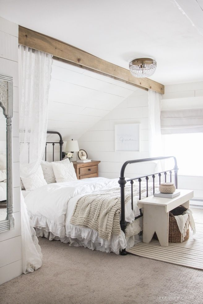 Lovely Farmhouse Master Bedroom Curtains in 2020 | Master ... on Farmhouse Bedroom Curtain Ideas  id=89822