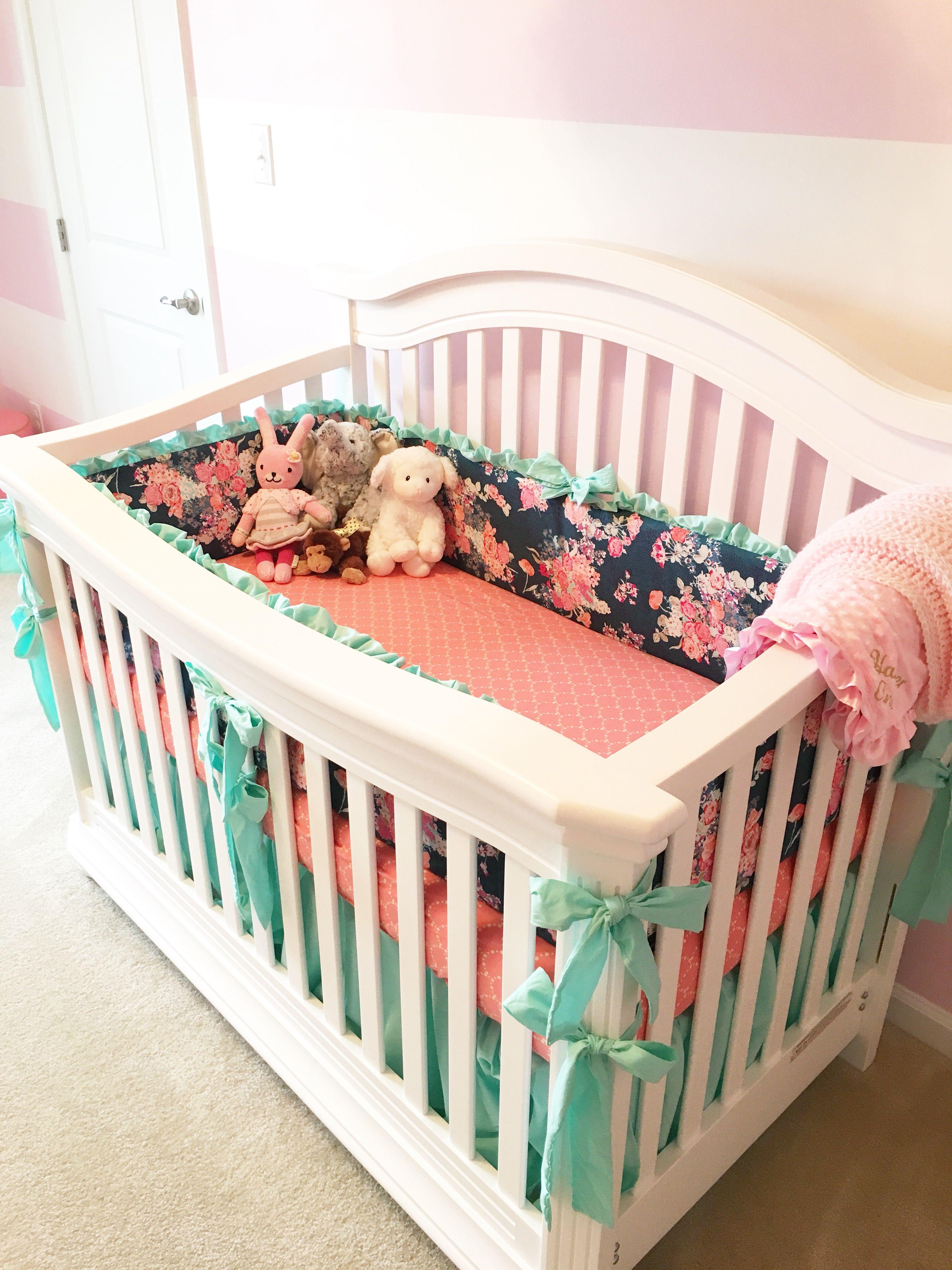 Pink Navy Turquoise Nursery Custom Baby Bedding Navy Floral Crib