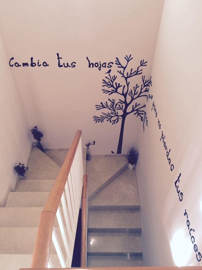 Vinilo escalera cambia tus hojas pero no cambies tus - Vinilos para escaleras ...