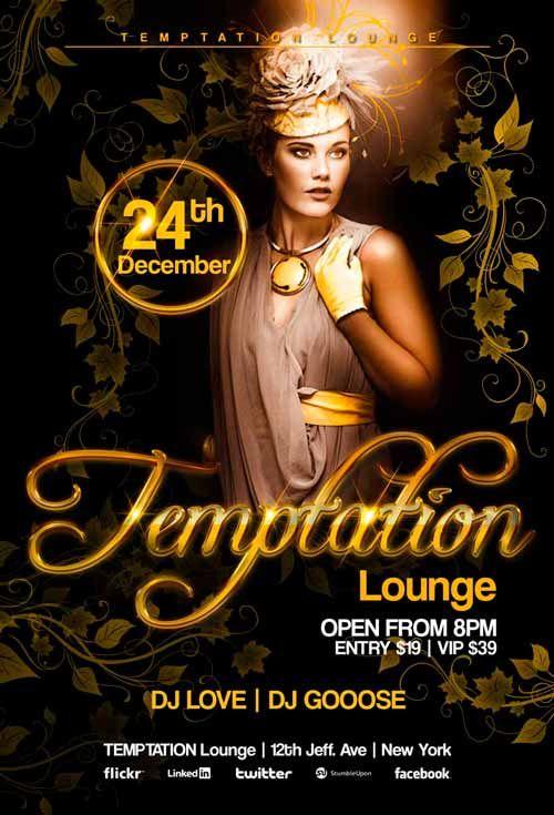 Temptation Lounge Flyer Template  Dj Flyer    Flyer