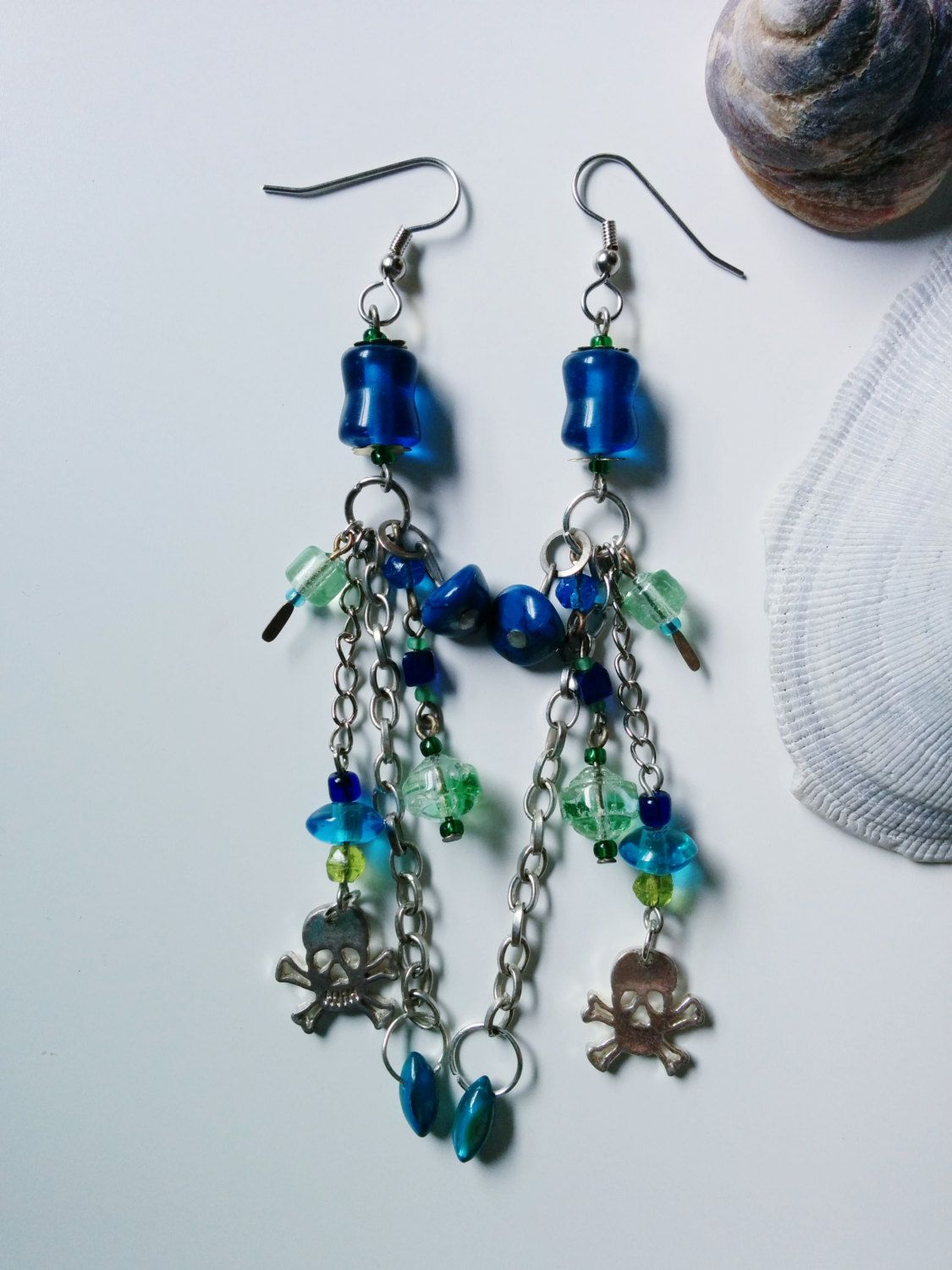 New to AgAuCu on Etsy: Here Be Monsters Earrings - Tide Shaped - Blue green silver gold skull hypoallergenic earrings (17.00 USD)