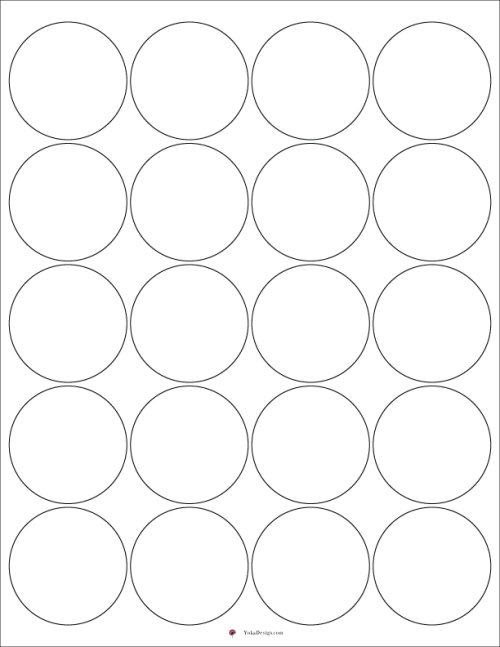 This File Is A Printable Sheet Made With 2 Diameter Circles For Designing Labels Or Stickers Prints 20 Per Page Roundstickers