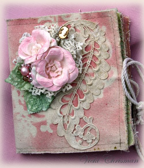 Glimmer Mist on Canvas Corp Stitched Book Tattered Angels