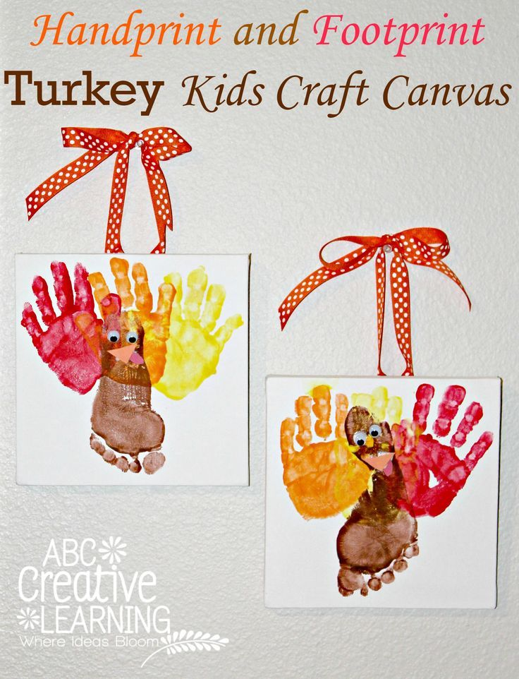 fashion style nice shoes huge selection of Handprint and Footprint Turkey Kids Craft Canvas | Thanksgiving ...