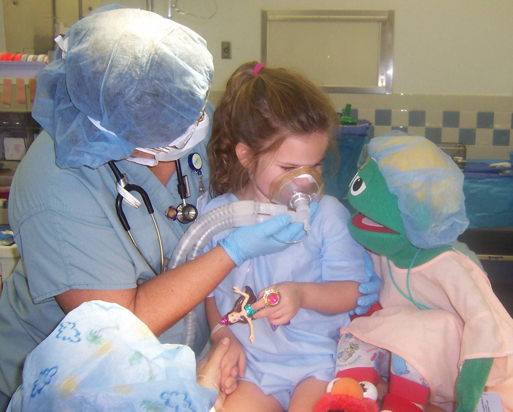 Pediatric anesthesia with Bernard the Hospital Puppet. (find out about more innovative ways to use puppets at wppuppet.com)