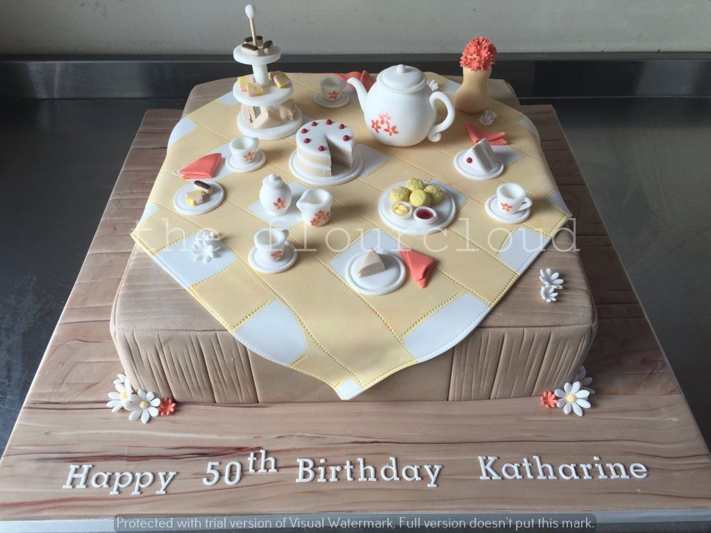 Afternoon Tea Birthday Cake Sugar Craft And Tutorials Pinterest