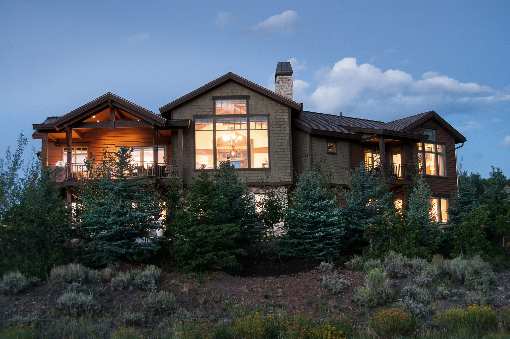 Back Exterior of a home we built in Tuhaye. Park City