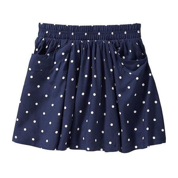 Old Navy Girls Polka Dot Scooter Skirts Size XS - Navy dots (€14) ❤ liked on Polyvore featuring kids clothes and skirts